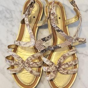 Kate spade gold and snake gladiator sandals